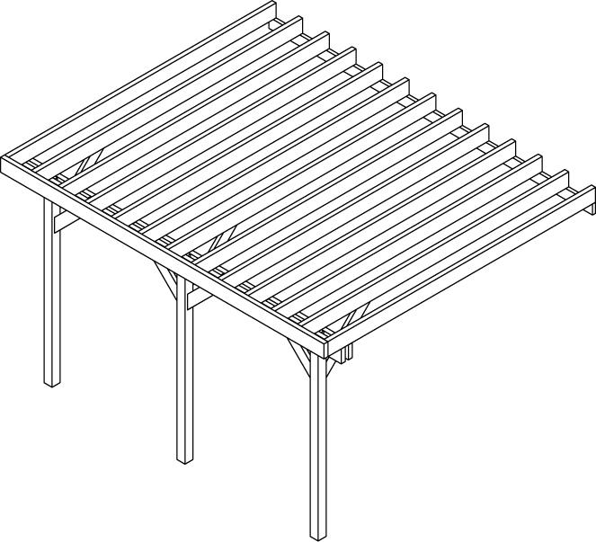structure de terrasse surelevée 3 poteaux